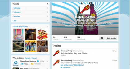 twitter page of group