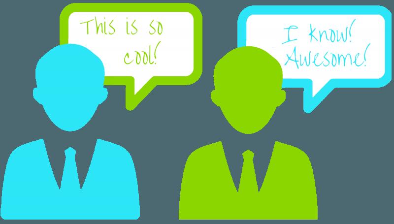 Two people talking communication