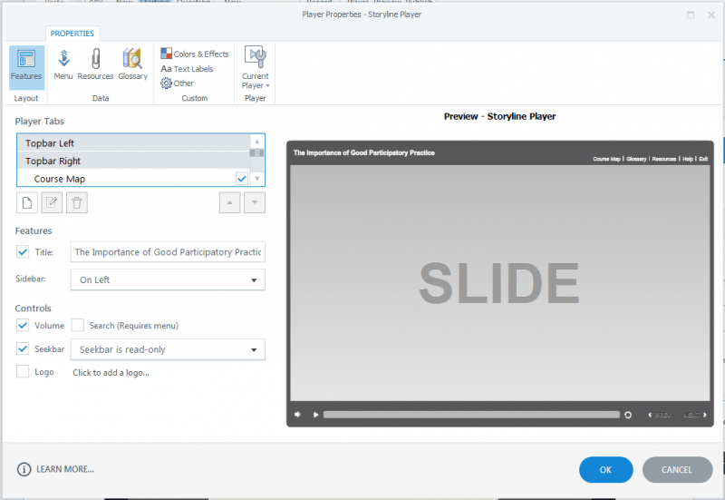 The good news for Storyline users is familiar functionality and interface, and hence, a minimal learning curve.