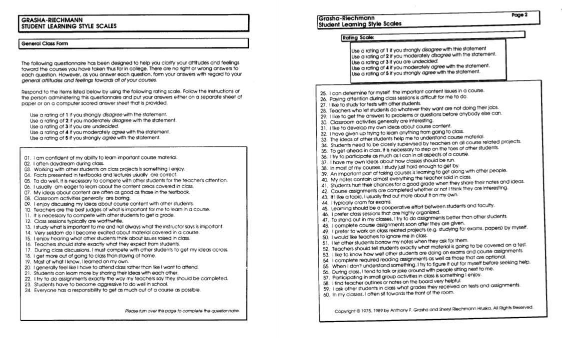 Learning Style Diagnostics: The Grasha-Riechmann Student Learning