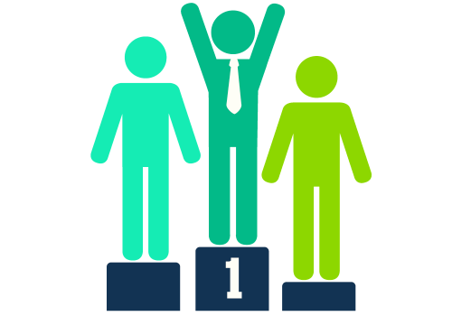 How To Gamify eLearning Development - Stick men on winner's podium hands in air