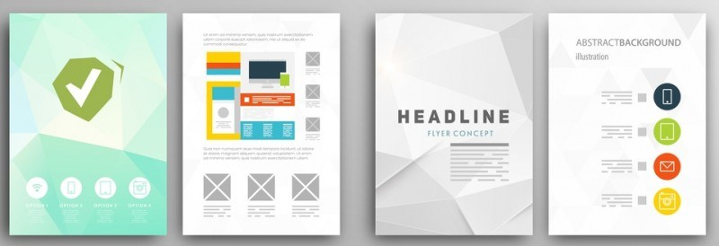 Set of Flyer, Brochure Design Templates. Geometric Triangular Abstract Modern Backgrounds.