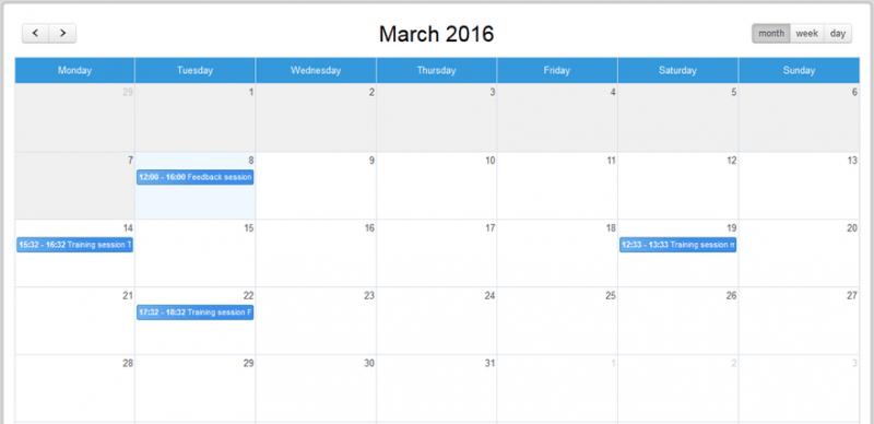 efrontpro calendar panel