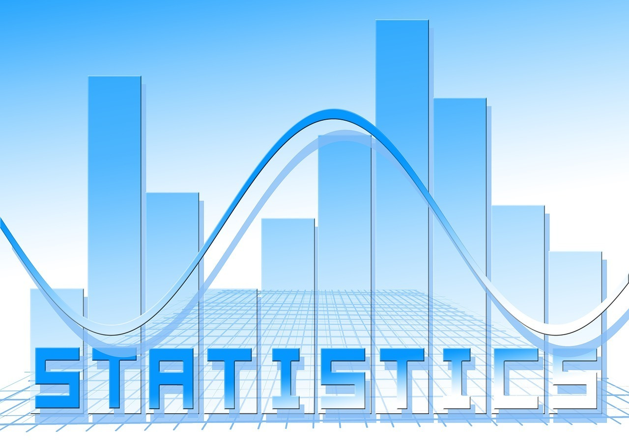 The word Statistics with a graph