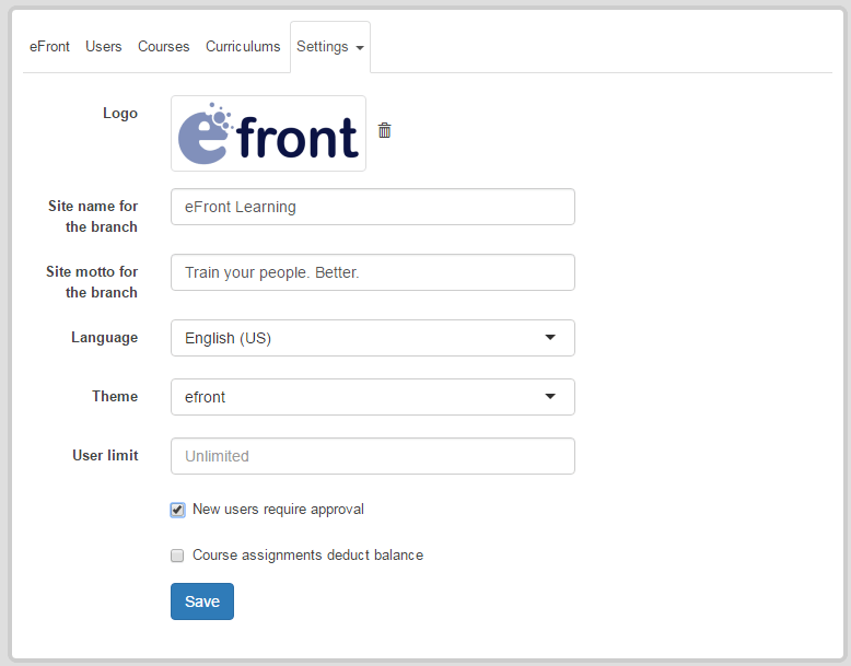 User management with Branches in eFrontPro