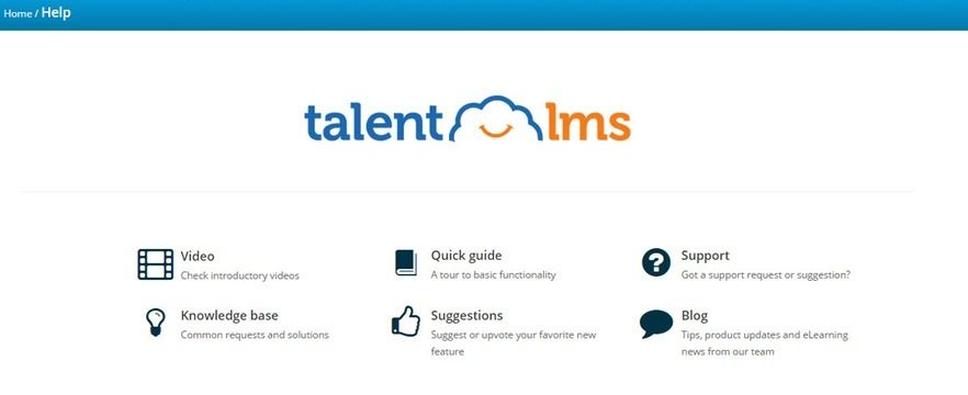 TalentLMS help menu options