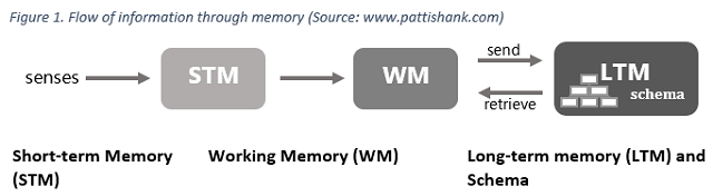 2 what is the process of memory from perception to retrieval what happens when the process is compro Recall effectively returns a memory from long-term storage to short-term or working memory, where it can be accessed, in a kind of mirror image of the encoding process it is then re-stored back in long-term memory , thus re- consolidating and strengthening it.