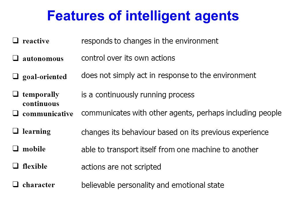 Features of Intelligent Agents--Credit: Monique Calisti