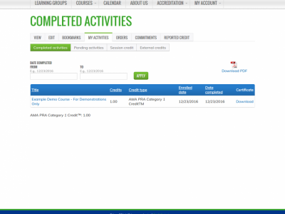 Screenshot of EthosCE LMS