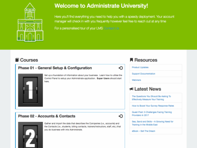 Screenshot of Administrate LMS