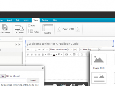 Screenshot of Instancy eLearning Authoring Tools