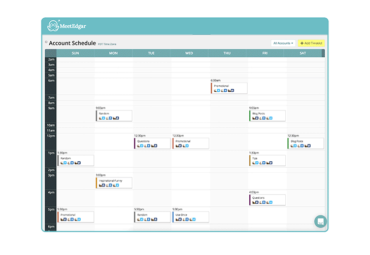 Screenshot of the MeetEdgar Content Scheduler
