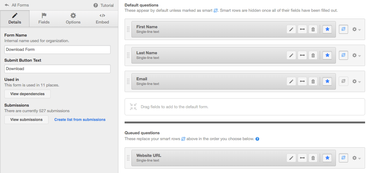 Screenshot of Smart Fields in HubSpot