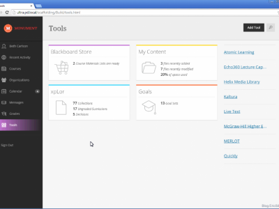 Screenshot of Blackboard LMS for Business