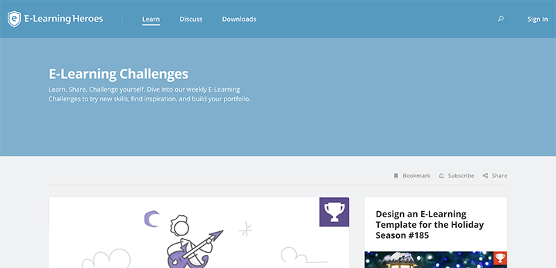 A screenshot of the elearning heroes challenge main page.