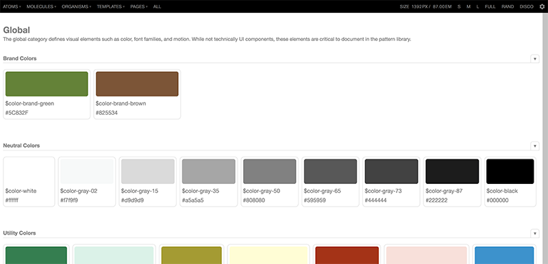 A demo of pattern lab with color palettes.