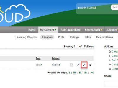 Screenshot of SoftChalk Cloud