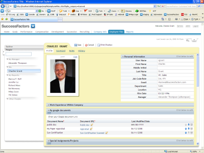 Screenshot of SAP SuccessFactors