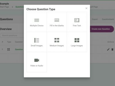 Screenshot of Online Exam Builder