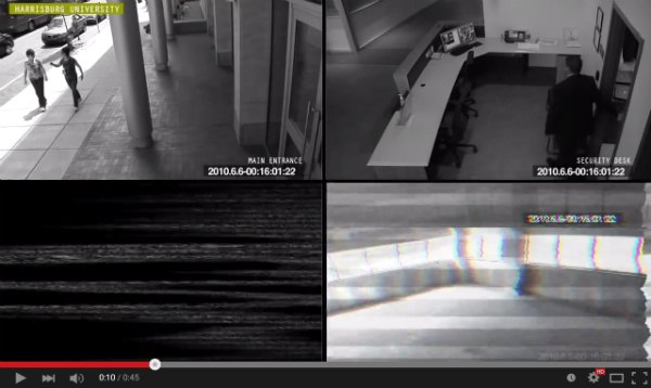 Image capture of CCTV-like video introducting the Robots Are Eating the Building ARG