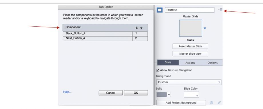 Figure 6. Organizing tab order for interactive objects