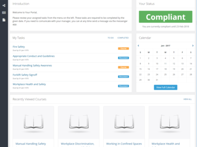 Screenshot of Engage LMS