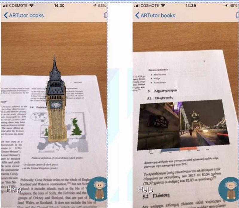 Figure 1. Scanning and recognizing the printed copy of the book with ARTutor2 app
