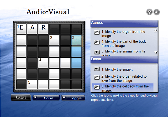 Audio-Visual Crossword