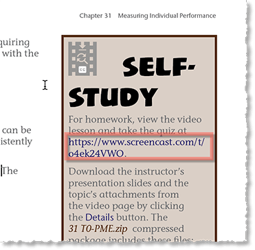 Take the URL generated for the video and download web page on Screencast and insert it in the book