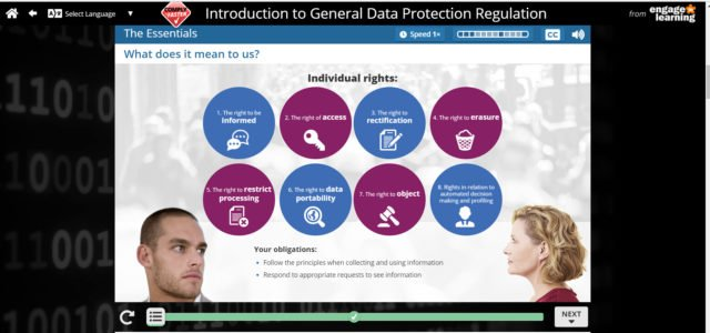 Engage In Learning's US English GDPR eLearning Course For Non-EU Firms