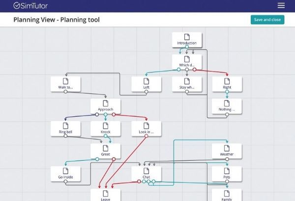 SimTutor planning tool for creating branching scenarios efficiently