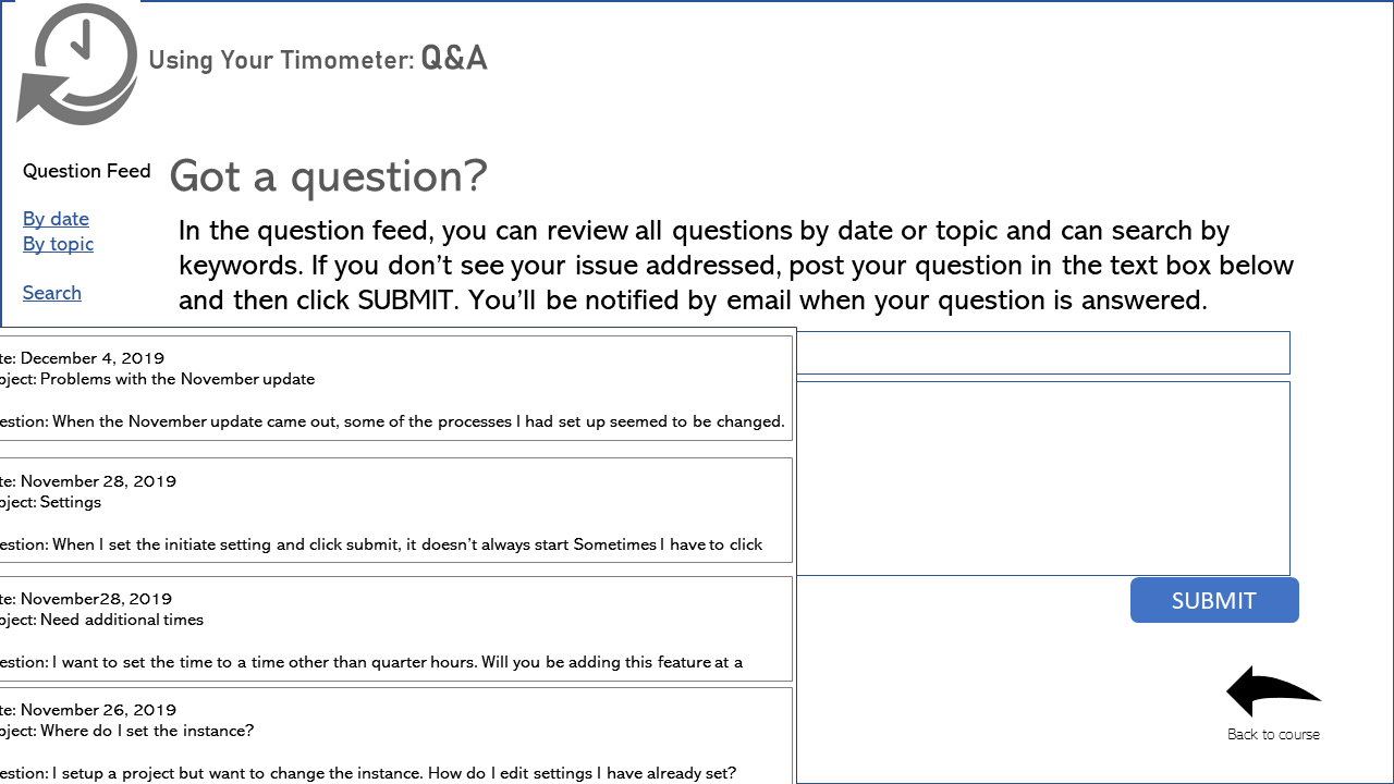 Example q&a interaction in an asynchronous course