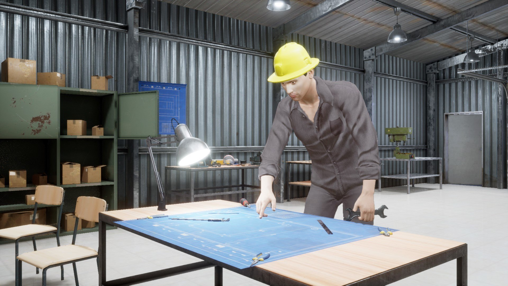Figure 4: A virtual human performing activities in a 3D workshop scenario.