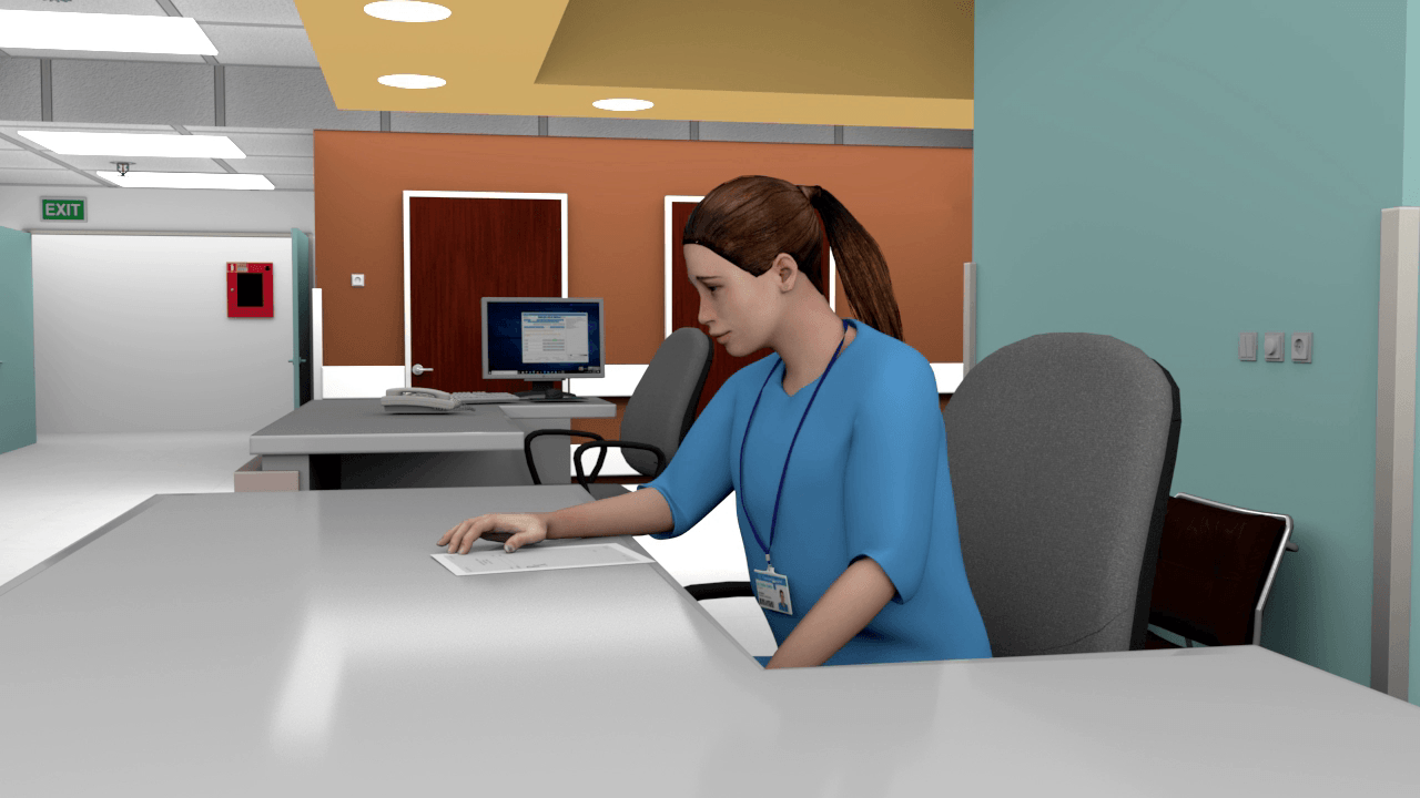 Figure 3: A nurse at the reception, reading orders.