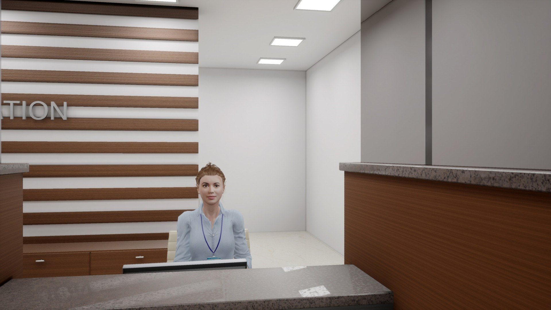 Figure 5: A virtual receptionist seated at her desk.