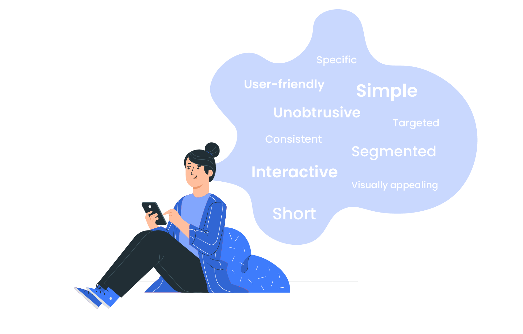 Character on phone thinking about mobile learning principles