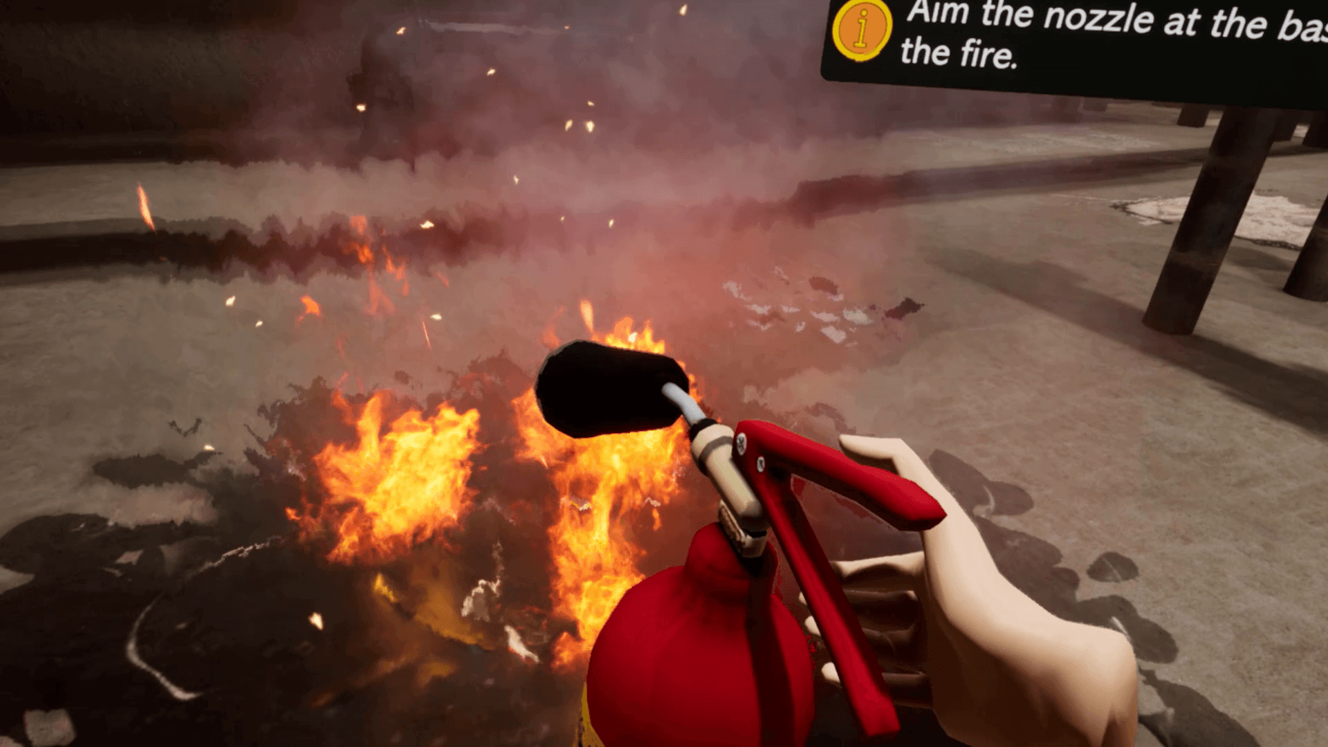 Practicing fire safety drill in a VR environment.