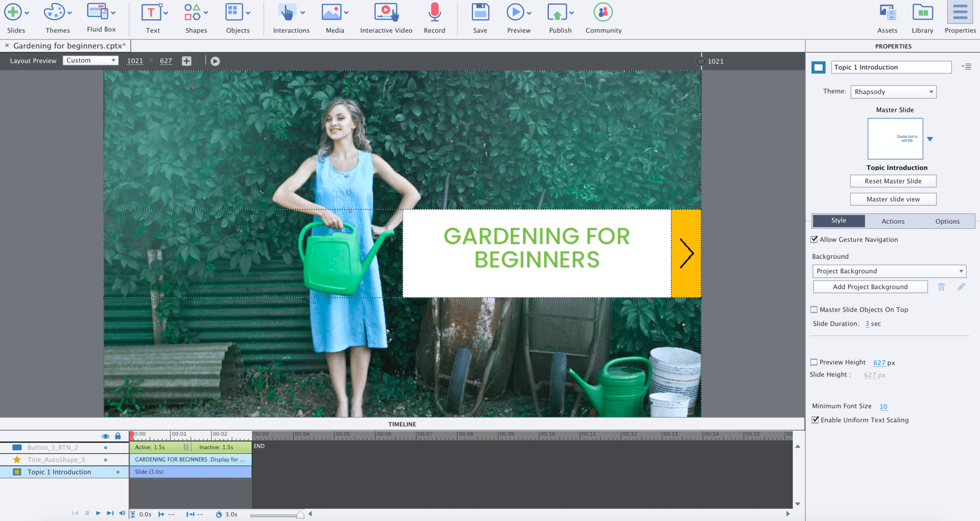 Adobe Captivate edit mode showing gardening course cover page