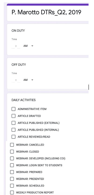 Figure 1.2 – Macro-Level DTR using Google Forms.
