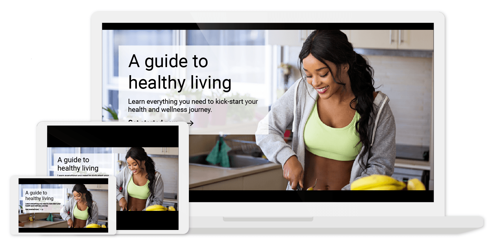 Articulate Storyline health and wellness cover page shown on cellphone, tablet and laptop