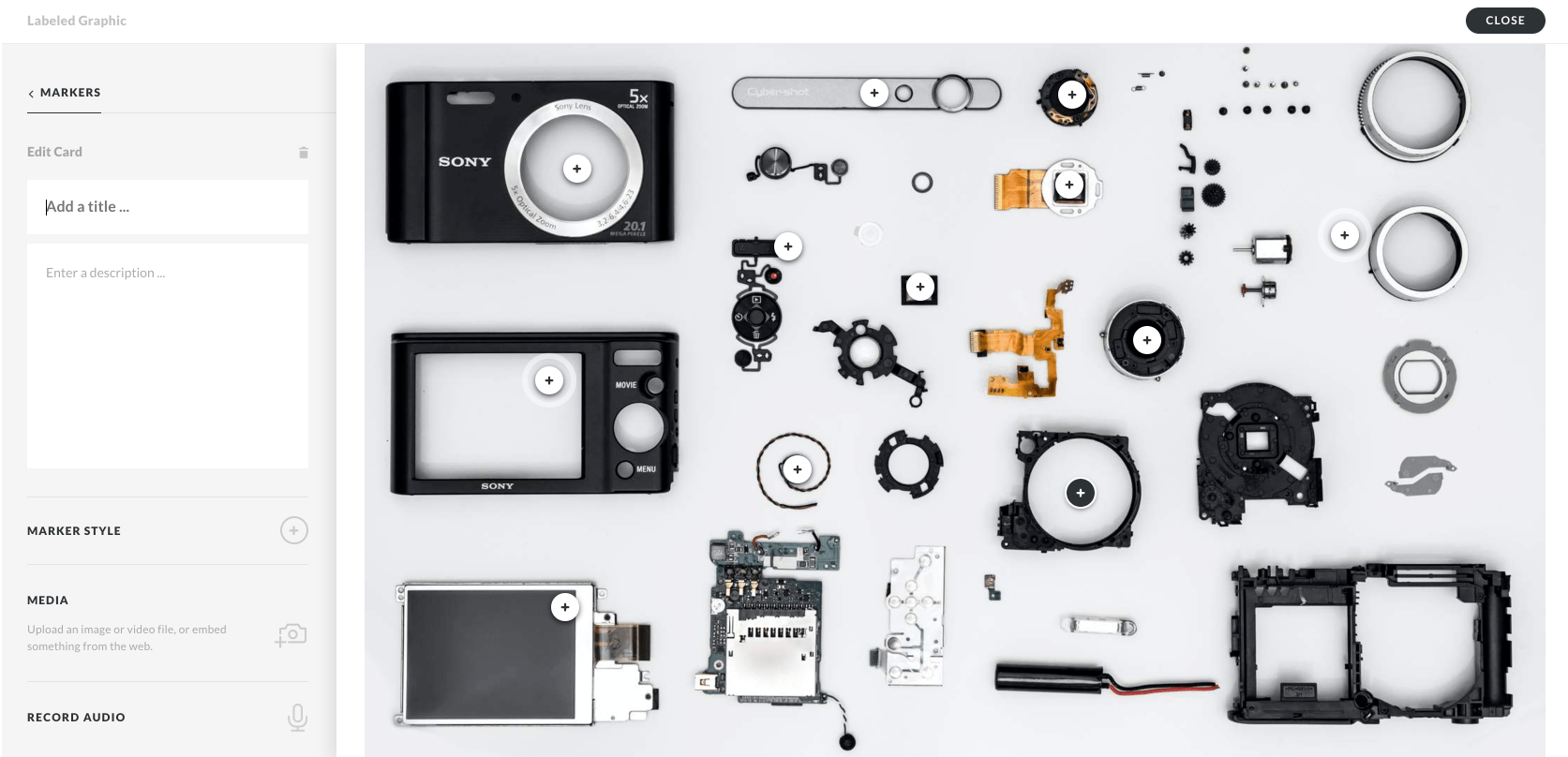 Articulate Rise edit view showing a label diagram of the parts of a camera
